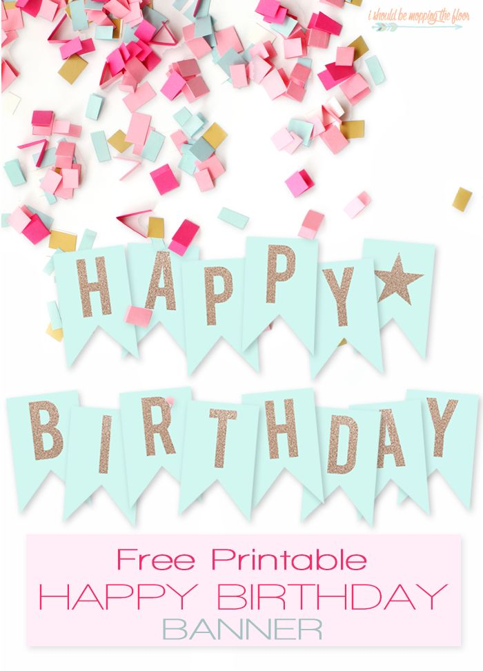 Free Printable Happy Birthday Banner  Large party banner ready to print and hang The glittery