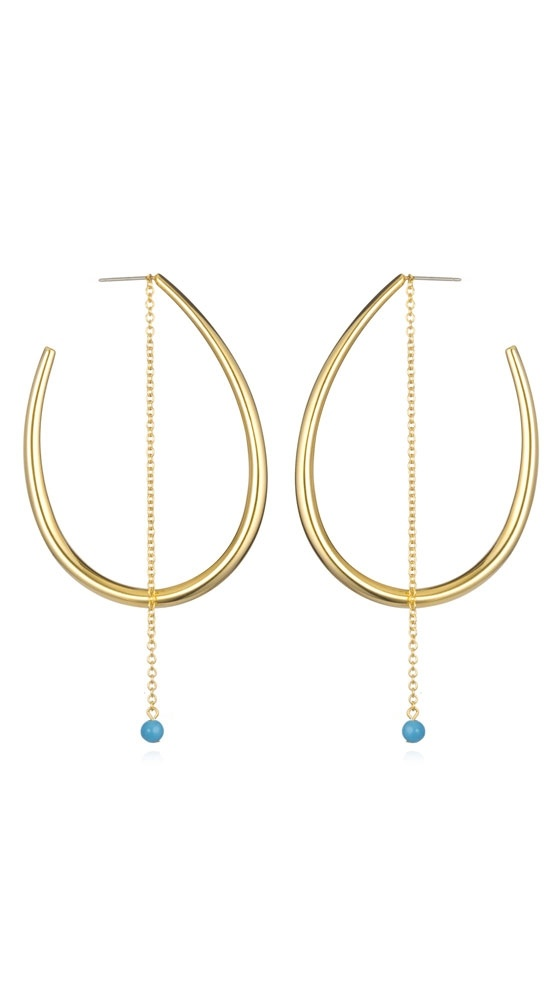 Edie hoops with turquoise stone oooo I want these