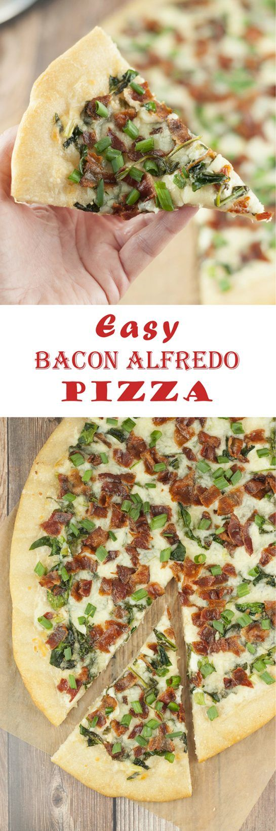 Switch up family pizza night with this easy Bacon Alfredo Pizza recipe! Alfredo sauce lovers will go crazy for this and each slice of this white pizza is packed with delicious toppings!