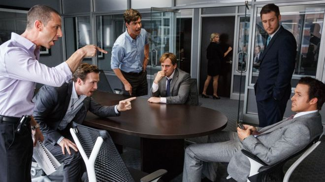 Jeremy Strong, Rafe Spall, Hamish Linklater, Steve Carell, Jeffry Griffin and Ryan Gosling in The Big Short  Steve Carell (seated centre) and Ryan Gosling (far right) head The Big Short's ensemble cast. 25.1. 2016,: