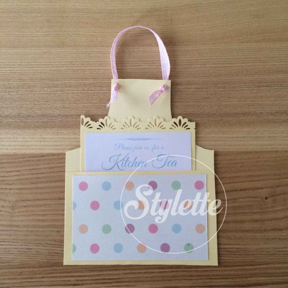 Kitchen Tea Bridal Shower APRON Party Invitation   Pretty Yellow Pink    Handmade Invite Design Custom