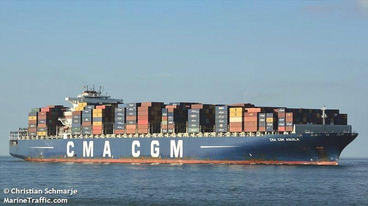 """Buque: """"CMA CGM AQUILA"""". Año de contrucción: 2009. Tipo: Portacontenedores. Propietario y operador: CMA CGM - Marsella (Francia). Dimensiones: Eslora 363 m. Manga 45,6 m. Calado 15,50 m. Carga (DWT): 128.550 Tm. Capacidad máxima (TEU): 11.356 contenedores. Containers frigorificos (TEU): 800. Motor: B&W - tipo: 12K98MC-C7-TI. Potencia: 72.240 Kw. Velocidad máxima y promedio: 16,8 / 10,1 nudos. Identificativo: 2CBJ6. Bandera: Reino Unido (UK)."""
