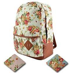 Damenmode Leinwand Blumen-Rucksack Rucksack-Schule-Hochschule Reisegepack-Koffer