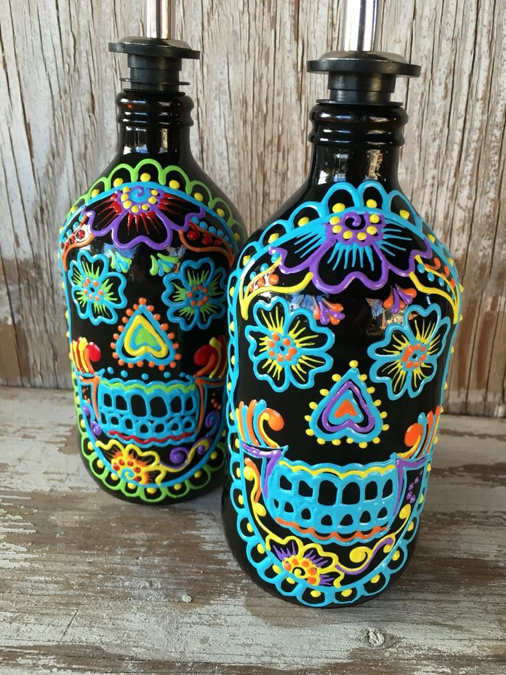 Colorful and bright Sugar Skull Dispenser bottle great for