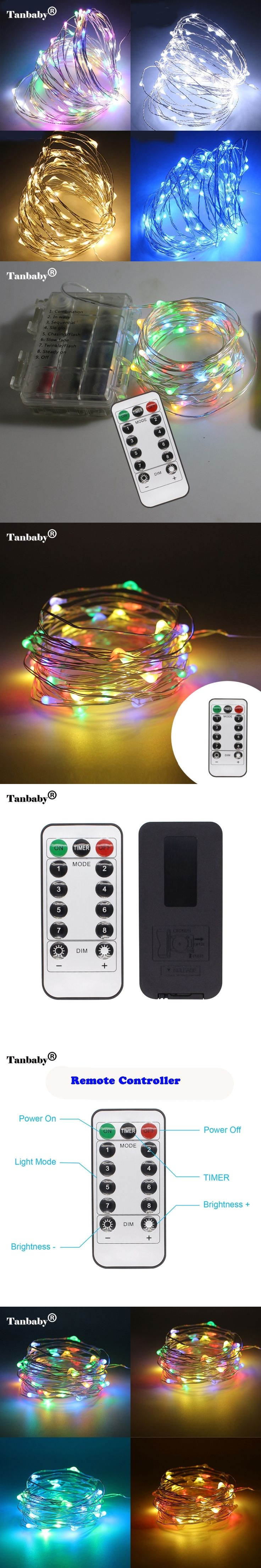 Tanbaby 10m 100 LEDs Copper Wire AA Battery Powered String Fairy Light Decorative Lights for Halloween Christmas Wedding Parties