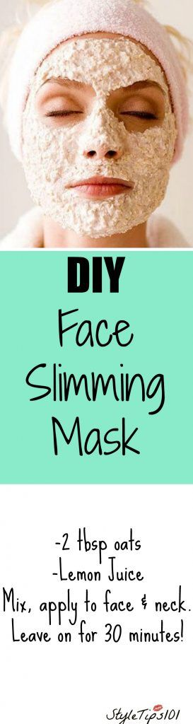 "This DIY face slimming mask will make your face look thinner with just 2 ingredients! The addition of lemon juice and oats helps to ""shape"" the face by tightening it, therefore giving it a slimmer"