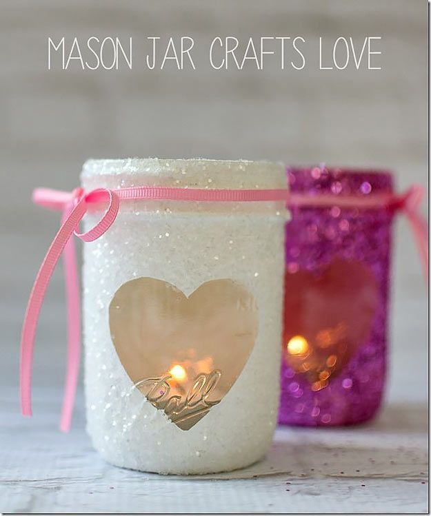 Mason Jar Valentine Gifts and Crafts | DIY Ideas for Valentines Day for Cute Gift Giving and Decor |   Valentine Glitter Votives    |  http://diyjoy.com/mason-jar-valentine-crafts