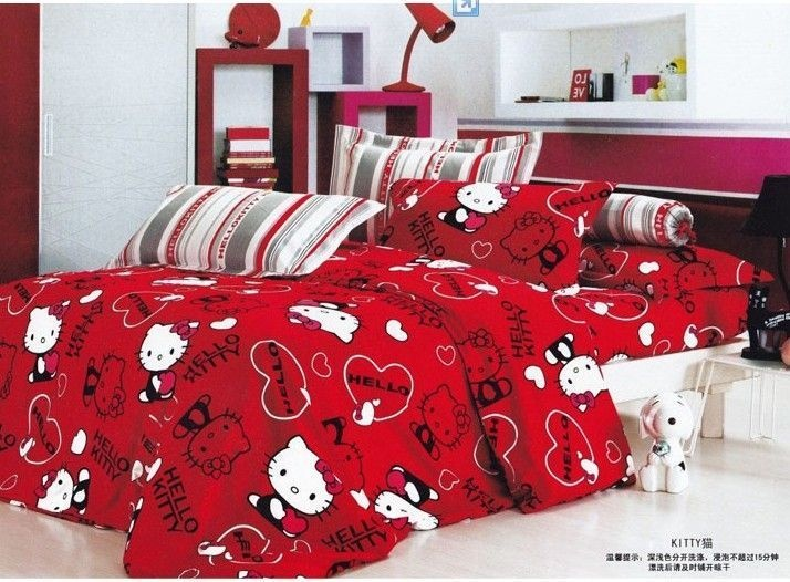 Hello Kitty Bed Duvet Cover Set Queen Size, White With Red