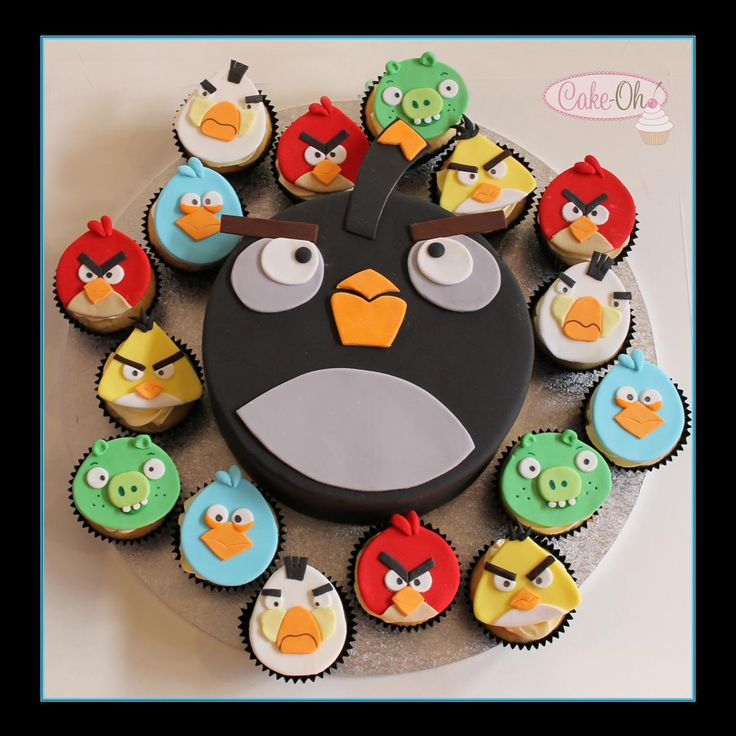 Angry Birds Cupcakes - totally edible angry bird cupcake toppers matched with the big bad bomb bird