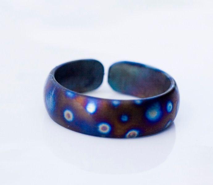 6mm half round titanium band titanium jewelry from Arpelc Blue Titanium Jewelry by DaWanda.com
