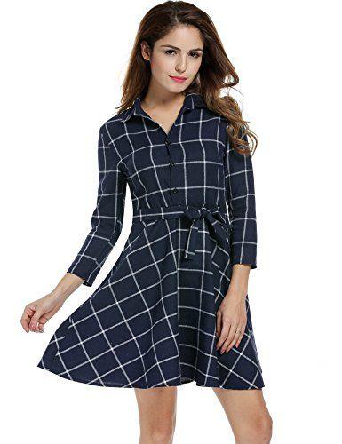 d6cdd4a56773 Zeagoo Damen 3/4 Ärmel Kleid Kariertes Kleid Shirtkleid Blusenkleid ...