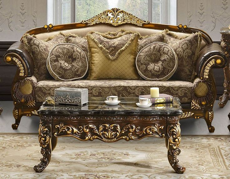 Traditional Style Sofa Set Available In Antique Two Tone Brown Finish Wood  Frame With Matching Upholstery. This Living Room Furniture Includes Sofa  Only.