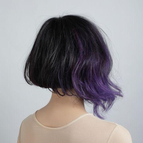 purple dip dye on short hair