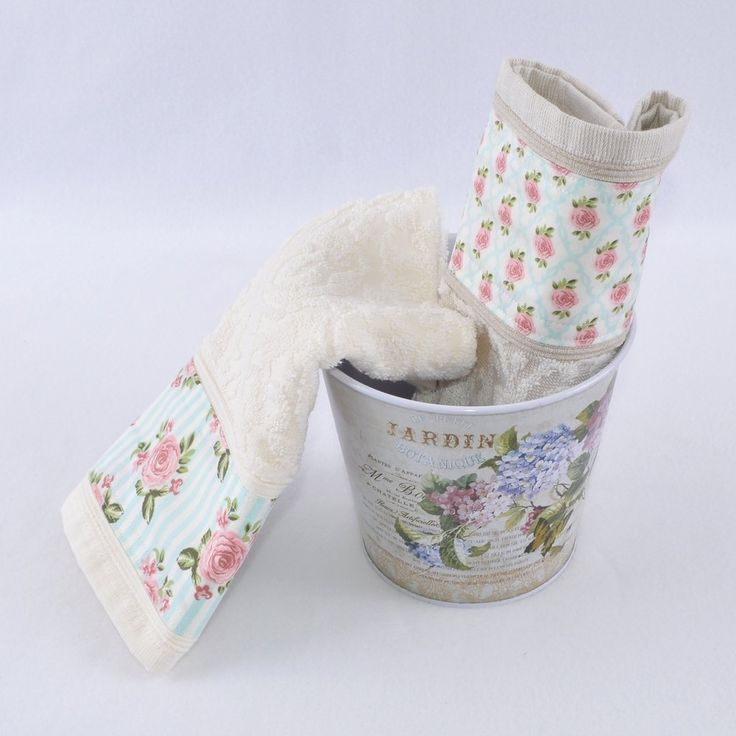 Kit 2 Toalhas Lavabo Creme e Cáqui Baldinho Floral Retrô Botanique