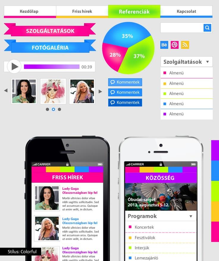 Colorful UI kit - bemutató készlet. A tutorial megvásárolható május 9-től a magui.hu oldalon.