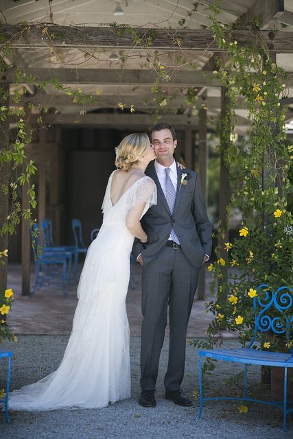 Black #belt and #shoes are the perfect #accessories choices for this #groom who were wearing #gray #windowpane #patterned suit. Take a closer look at his #tie and the #whimsical #boutonniere at http://www.wellgroomedblog.com/2017/02/well-groomed-groom-boutonniere-with.html
