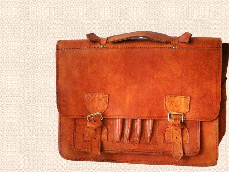 Prachtige handgemaakte vintage oranje bruine lederen aktetas ca 1970 m/v door TresbeLLL op Etsy