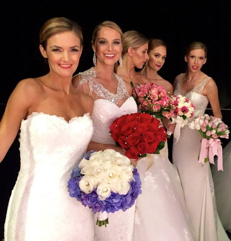 Sneak peak backstage at the #UltimateBridalEvent fashion parade of our stunning models in their Luv Bridal & Formal dresses holding beautiful bouquets from Avanti Florist!!