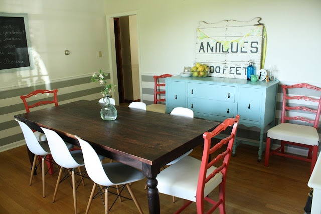 Eclectic Dining Room with Coral Chairs, Eames chairs, farmhouse table, aqua sideboard, gray striped walls