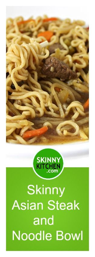 Skinny Asian Steak and Noodle Bowl. The broth is rich and flavorful and loaded with steak, ramen noodles & veggies. Each bowl has 240 calories, 6g fat & 6 Weight Watchers SmartPoints.  http://www.skinnykitchen.com/recipes/skinny-asian-steak-and-noodle-bowl/