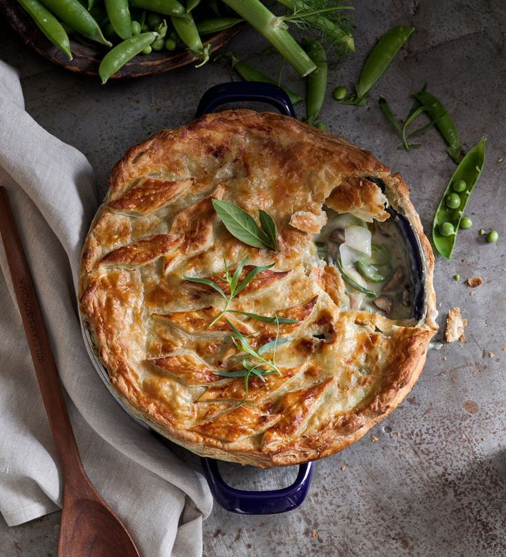 Spring Vegetable Pot Pie with Gruyere, potatoes, fennel, mushrooms and a puff pastry top.