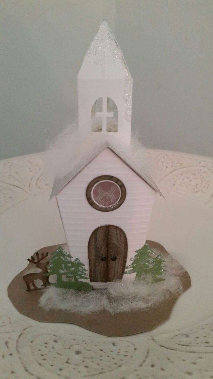 Little Church paper house created 9/2016, by Debi Paisie, scraptabulous-stamper.blogspot.com