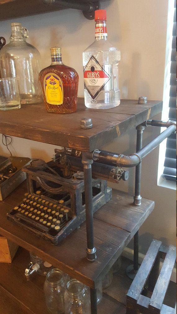 Rolling Bar Cart- Microwave Cart - Coffee Cart - Kitchen Island - Industrial Cart - Roll-away ...