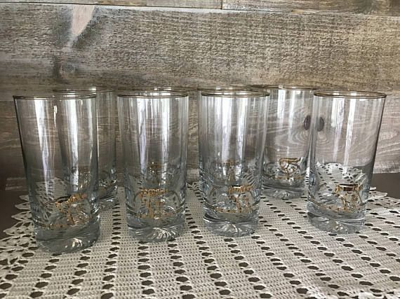 Calgary 1988 Winter Olympics Highball Glasses with Gold Trim