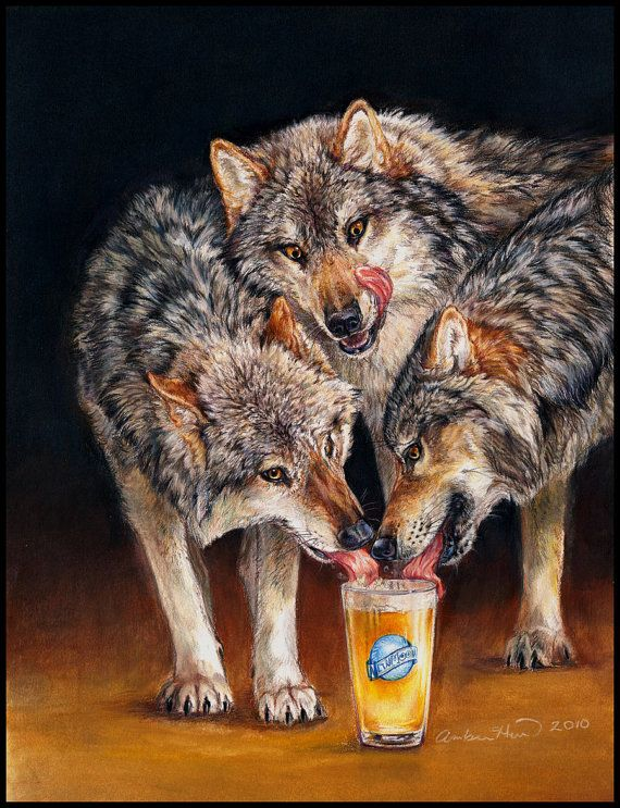 Three Wolf Moon Beer Wolves Fine Art Print by EtherealStudios