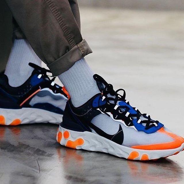 Nike React Element 87 Blue Total Orange running shoes AQ1090-004 ...