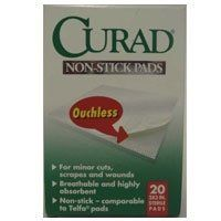 Telfa Non-Stick Sterile Pads by Curad, Size: 2 In X 3 In - 20 ea by Curad. $3.16. Telfa Non-Stick Sterile Pads are made of a soft, perforated film bonded to a highly absorbent and breathable pad.. The film is ventilated to allow the wound to breathe and absorb any fluids.. Non-Stick Pads with Tabs are made of a soft, perforated ouchless film bonded to a highly absorbent pad.. The pad can be cut or trimmed to fit any wound.. INDICATIONS: CURAD Telfa NON-STICK PADS are wound cove...