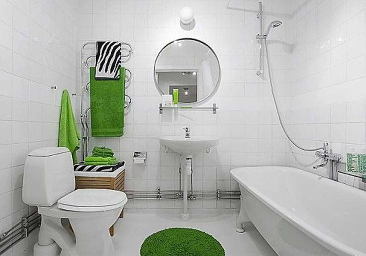 Small Modern Bathroom Design Ideas with white ceramic bathtub and white ceramic wall mounted sink also white ceramic toilet
