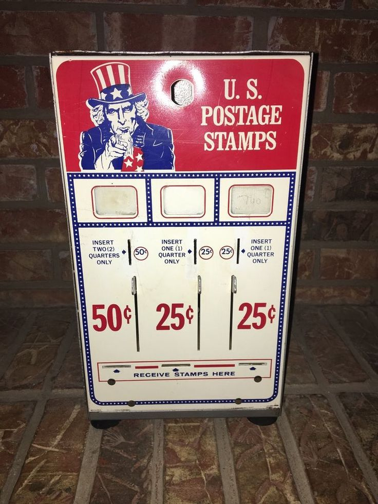 Vintage Post Office Stamp Machine With Uncle Sam, Coin Op