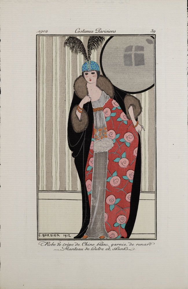 "Costumes Parisiens - (circa 1912) Tome I, Vol. 20, Plate 39 - Illustrated by Georges Barbier, ""Dress of white crepe de chine with fox trim. Coat of otter and skunk."""