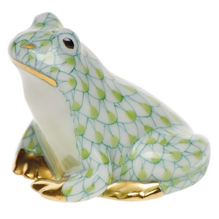 "Herend Hand Painted Porcelain Figurine ""Miniature Frog"" Key Lime Fishnet Gold Accents."