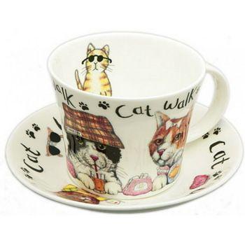 Коты модники/Чайная пара для завтрака 500мл