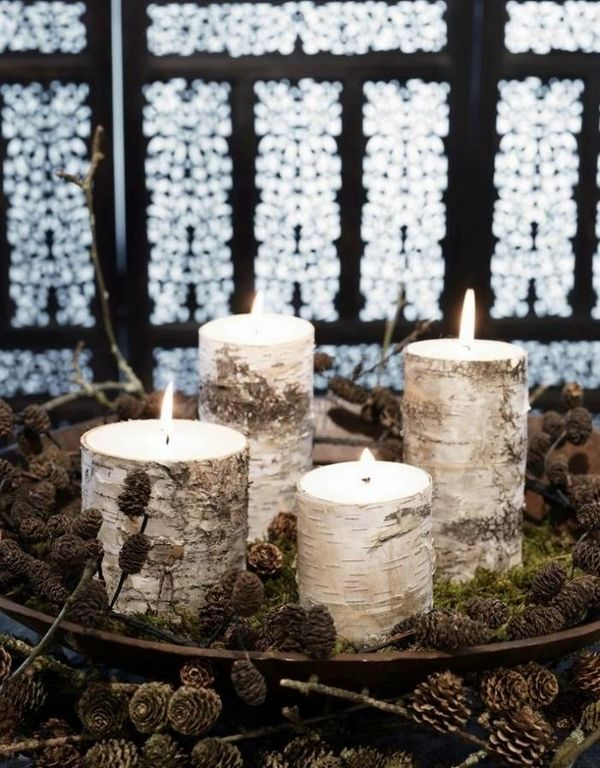 Rustic christmas decoration ideas Advent wreath DIY candles pine cones