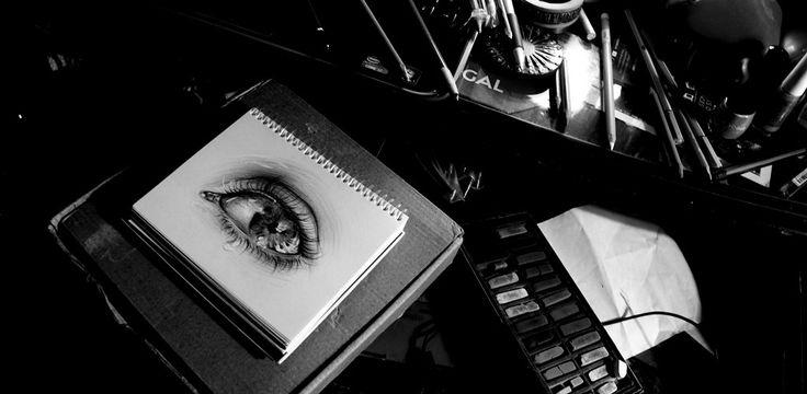 María José Artgumedo (Ojo, eye, black and white) Art Illustartion