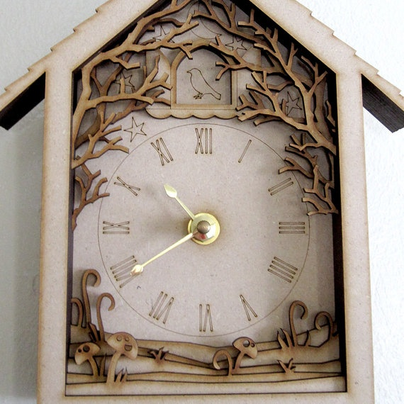 Diorama Cuckoo Clock  Laser Cut Wood Forest Night by seequin, $40.00