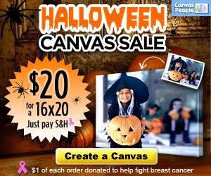 Halloween Canvas Sale: $20 for a 16x20 Photo Canvas + $1 Donated to Fight Breast Cancer
