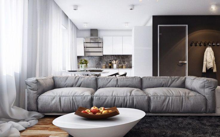 Дизайн интерьера небольшой квартиры студии в белом, сером и коричневом цвете