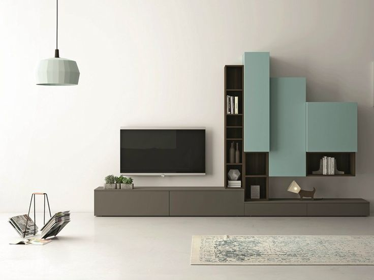 Sectional lacquered TV wall system SLIM 87 Slim Collection by Dall'Agnese   design Imago Design, Massimo Rosa