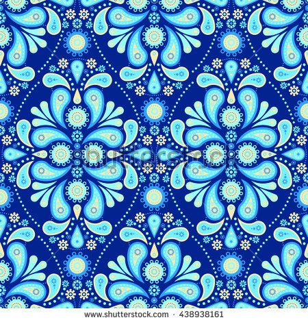 Seamless Paisley Tile Pattern - Blue Cyan Cream