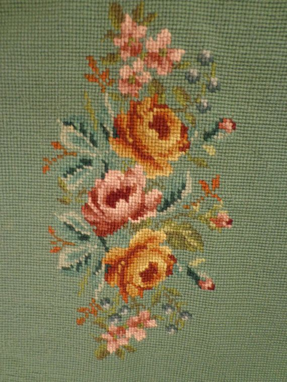 Vintage Finished Needlepoint Floral Piece by homeintheoaks on Etsy