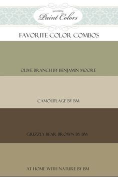 Maybe these colors for our walls? Olive Branch in the living room, camouflage in the family room, grizzly bear in the dining room and at home in the kitchen