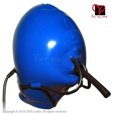 blue Sexy Latex Inflatable Masks three breathing tubes Rubber ball hoods Gummi Headgear balloon Anaesthesia Hood TT-148