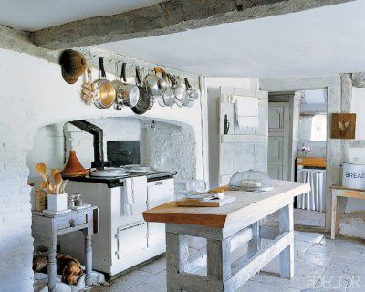 kitchenEnglish Lessons, Elle Decor, English Cottages, Rustic Kitchens, Basements Kitchens, Country Kitchens, Farms Kitchens, Aga Stoves, White Kitchens