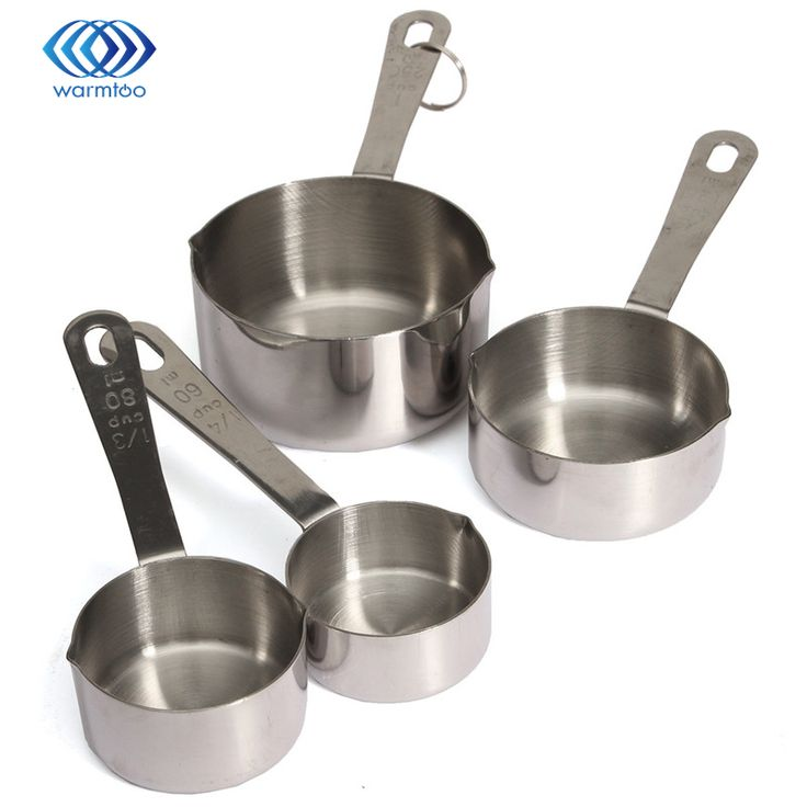4 Piece Stainless Steel Measuring Cups Set Superior Material Kitchen Milk Coffee Durable Quality