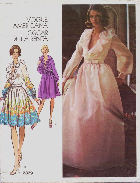 1970s Oscar de la Renta Womens Ruffled V-Neck Wedding, Prom or Evening Dress Vogue Americana Sewing Pattern 2879 Size 10 Bust 32 1/2