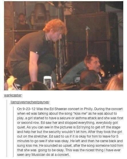 it was an asthma attack and theres a youtube video on it! security wouldnt let him get off stage to help her... i love you ed.